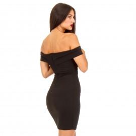 Μαύρο Εφαρμοστό Off Shoulder Φόρεμα