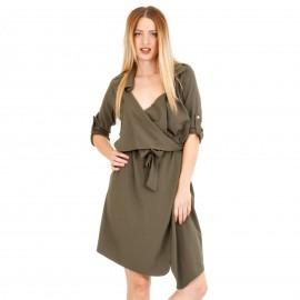 Χακί Midi Φόρεμα με Ζωνάκι