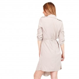 Γκρι Midi Φόρεμα με Ζωνάκι