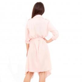 Ροζ Midi Φόρεμα με Ζωνάκι