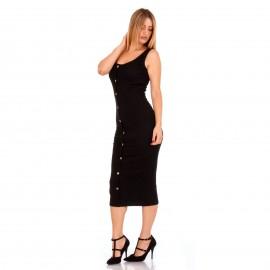 Μαύρο Ripped Midi Φόρεμα με Κουμπιά