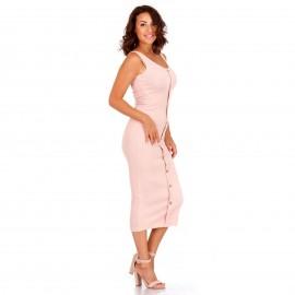 Ρόζ Ripped Midi Φόρεμα με Κουμπιά