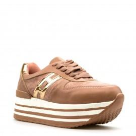 Ροζ Δίπατα Sneakers με Χρυσή Λεπτομέρεια