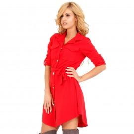 Κόκκινο Mini Φόρεμα με Κουμπιά