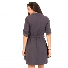 Γκρι Mini Φόρεμα με Κουμπιά