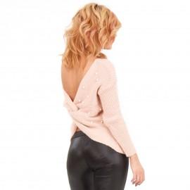 Ροζ  Μπλούζα με Ανοιχτή Πλάτη και Πέρλες