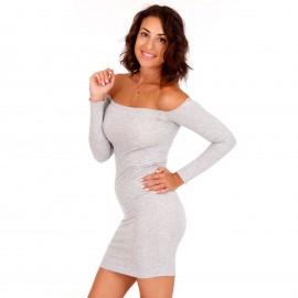 Γκρι Strapless Mini Φόρεμα