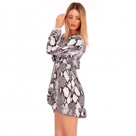 Γκρι Φίδι Mini Φόρεμα