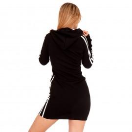 Μαύρο Mini Φόρεμα με Ρίγες και Κουκούλα