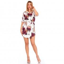 Λευκό Φλοράλ Mini Φόρεμα με Ζωνάκι