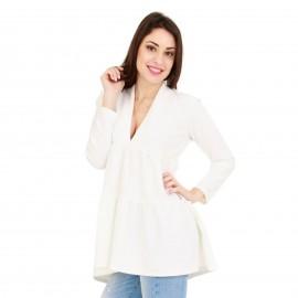 Λευκή Μπλούζα με Πιέτες