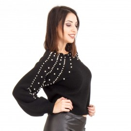 Μαύρη Μπλούζα με Πέρλες