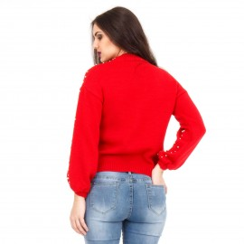 Κόκκινη Μπλούζα με Πέρλες