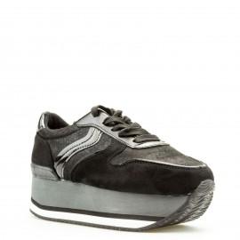 Μαύρα Δίπατα Sneakers με Κορδόνια