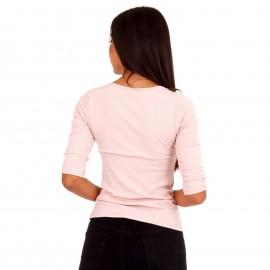 Ρόζ Ripped Μπλούζα με Φιόγκο