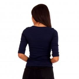 Μπλε Ripped Μπλούζα με Φιόγκο