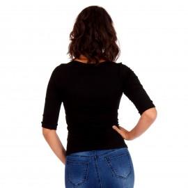 Μαύρη Ripped Μπλούζα με Φιόγκο