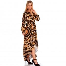 Μαύρο Μακρυμάνικο Σατέν Maxi Φόρεμα με Σχέδια