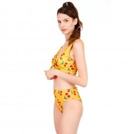 Κίτρινο Μπικίνι Μαγιό με Φιόγκο και Cherry Print