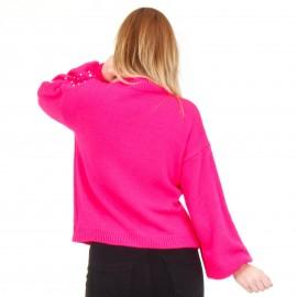 Φούξια Μπλούζα με Πέρλες