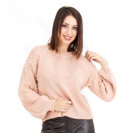 Ρόζ Μπλούζα με Πέρλες