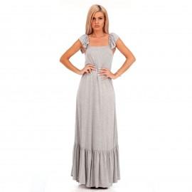 Γκρι Maxi Φόρεμα με Βολάν στο Μανίκι