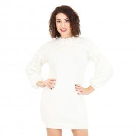 Λευκό Πλεκτό Μπλουζοφόρεμα με Πέρλες
