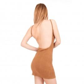 Camel Καστόρινο Mini Φόρεμα με Ανοιχτή Πλάτη
