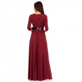 Μπορντό Maxi Φόρεμα με Σκίσιμο στο Πλάι