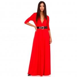 Κόκκινο Maxi Φόρεμα με Σκίσιμο στο Πλάι