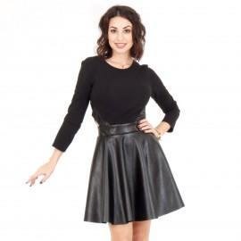 Μαύρο Ματ Μini Φόρεμα με Άνοιγμα στο Πλάι
