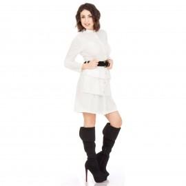 Λευκό Mini Φόρεμα με Κουμπιά και Ζωνάκι