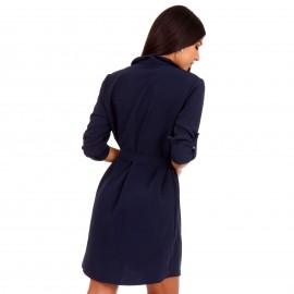 Μπλέ Mini Φόρεμα με Κουμπιά