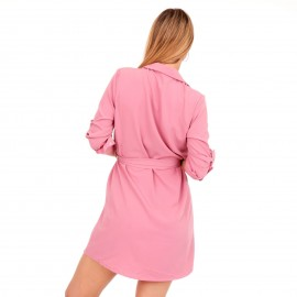 Ρόζ Mini Φόρεμα με Κουμπιά
