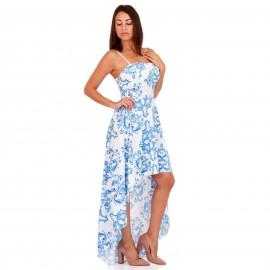 Λευκό Ασύμμετρο Maxi Φόρεμα με Μπλέ Σχέδια