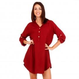 Μπορντό Mini Φόρεμα με Κουμπιά