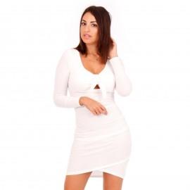 Λευκό Ripped Mini Φόρεμα με Φιόγκο