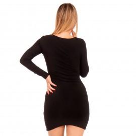 Μαύρο Ripped Mini Φόρεμα με Φιόγκο