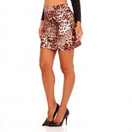 Λεοπάρ Mini Φούστα με Φερμουάρ