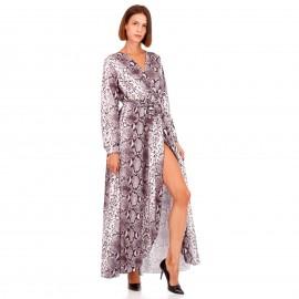 Γκρι Μακρυμάνικο Maxi Φόρεμα Κρουαζέ με Snake Print