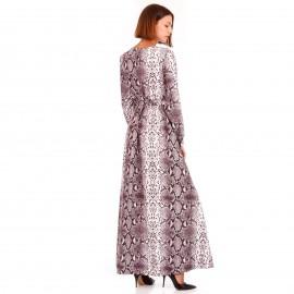 Μπεζ Μακρυμάνικο Maxi Φόρεμα Κρουαζέ με Snake Print