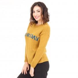 Κίτρινη Πλεκτή Μπλούζα με Γράμματα