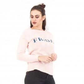 Ρόζ Πλεκτή Μπλούζα με Γράμματα