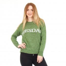 Πράσινη Πλεκτή Μπλούζα με Γράμματα