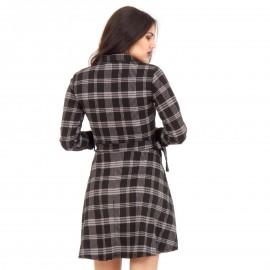 Μαύρο Καρό Mini Φόρεμα