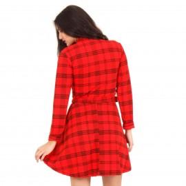 Κόκκινο Καρό Mini Φόρεμα