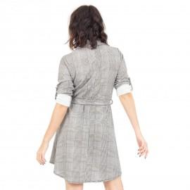 Γκρι Καρό Φόρεμα με Τσεπάκια