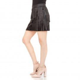 Μαύρη Mini Ματ Φούστα με Κρόσια