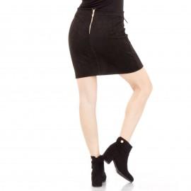 Μαύρη Σουέτ Mini Φούστα με Τσεπάκια και Κορδόνια