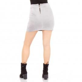 Γκρι Σουέτ Mini Φούστα με Τσεπάκια και Κορδόνια